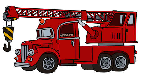 The vectorized hand drawing of a funny classic red truck crane