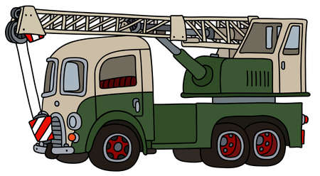 The vectorized hand drawing of a funny classic green and cream truck crane