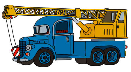 The vectorized hand drawing of a funny classic blue and yellow truck crane