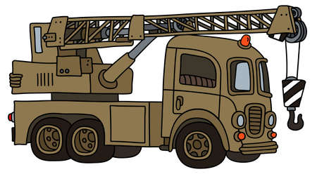 The vectorized hand drawing of a funny retro military truck crane