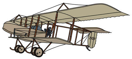 The vectorized hand drawing of a historical beige canvas biplane Illustration
