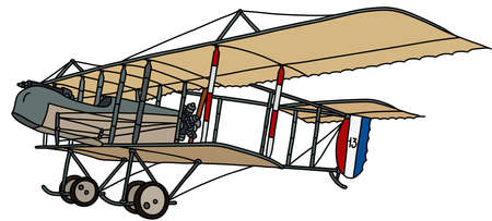The vectorized hand drawing of a historical military biplane