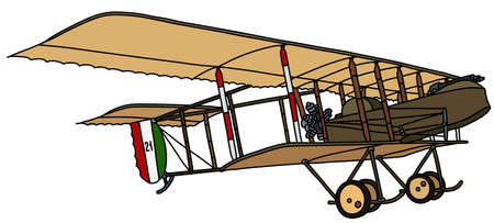The vectorized hand drawing of a historical khaki green military biplane Illustration