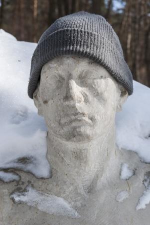 stocking cap: park sculpture Stock Photo