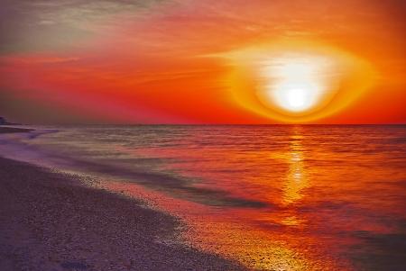azov sea: sunrise over the sea off the coast of Azov sea Stock Photo