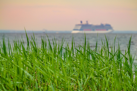 Green grass with blurried unfocused cruise ship sailing away on sunset horizon. Vacation conception