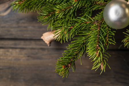 Christmas background with decorations on wooden board Stock Photo