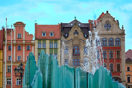 The market square with the famous fountain and colorful historical buildings in Wroclaw Poland. Silesia region.