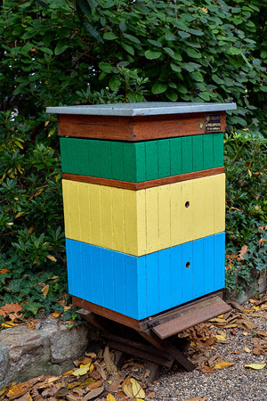Colorful hive in Botanical garden of Wroclaw, Poland. City landscape