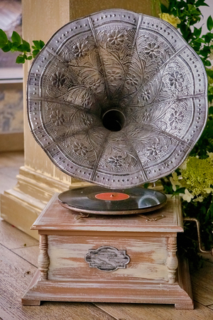 Beautiful silver vintage phonograph, retro gramophone.