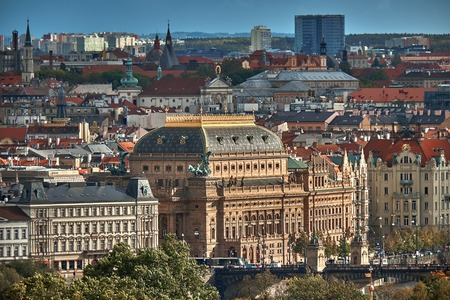 Aerial view of Prague from Prague Castle. Prague, Czech Republic.