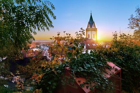Beautiful sunset over Hluboka nad Vltavou church, Czech Republic.