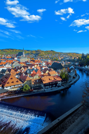 Aerial view over historic centre of Chesky Krumlov old town in the South Bohemian Region of the Czech Republic on Vltava River.