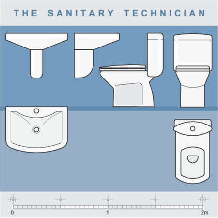 The sanitary technician Vektoros illusztráció