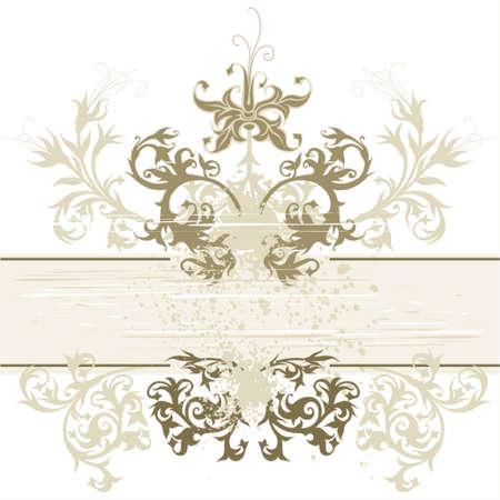 vintage emblem - flowers ornament on grunge background Stock Vector - 937419