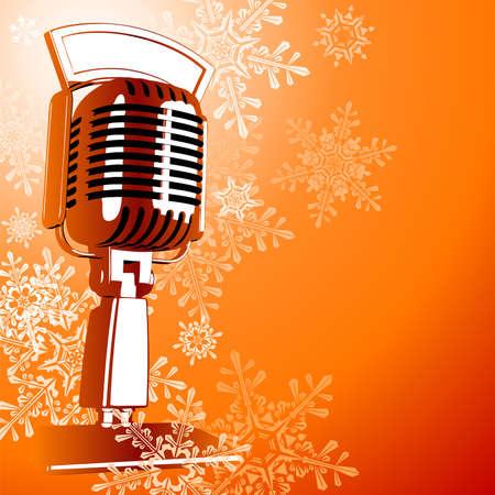 Vintage microphone & snowflakes 일러스트