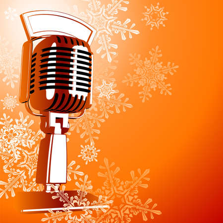 Vintage microphone & snowflakes Illustration