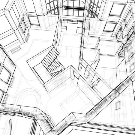 house: 3d technical draw Zdjęcie Seryjne