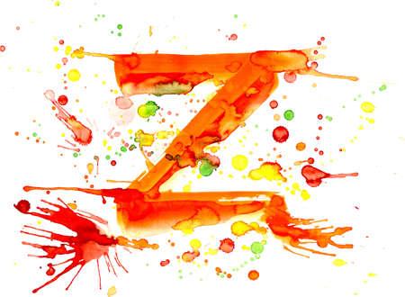 watercolor paint - letter Z photo