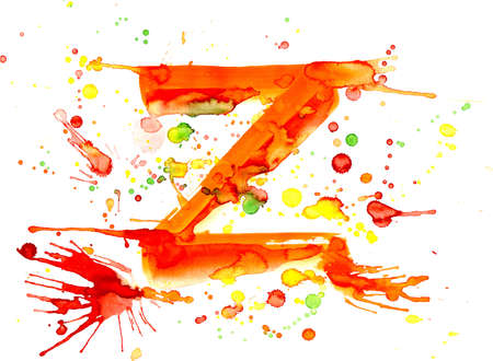watercolor paint - letter Z