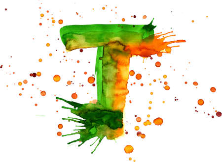 watercolor paint - letter T Stock Photo - 2709136