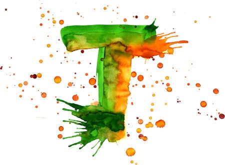 watercolor paint - letter T