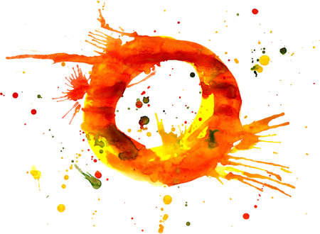 watercolor paint - letter O