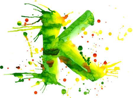 watercolor paint - letter K