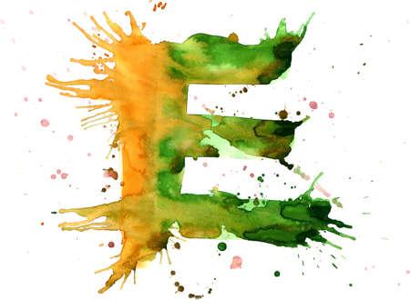 watercolor paint - letter E