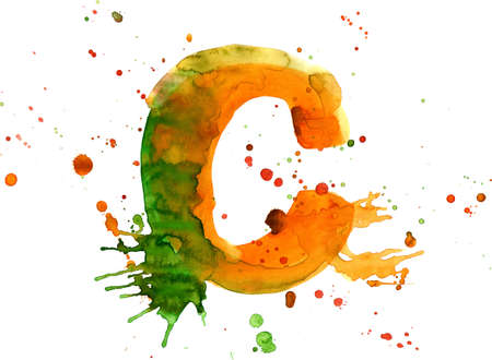 watercolor paint - letter C Stock Photo - 2709876