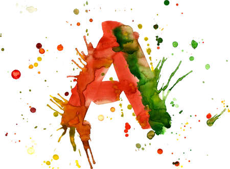 watercolor paint - letter A photo