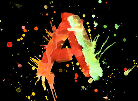 Neon watercolor paint - letter A photo