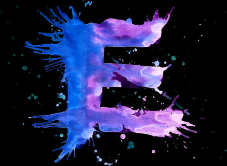 Neon watercolor paint - letter E photo