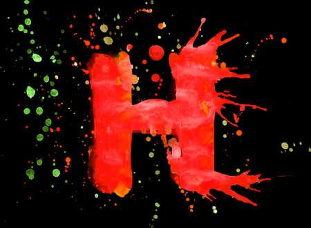 Neon watercolor paint - letter H photo