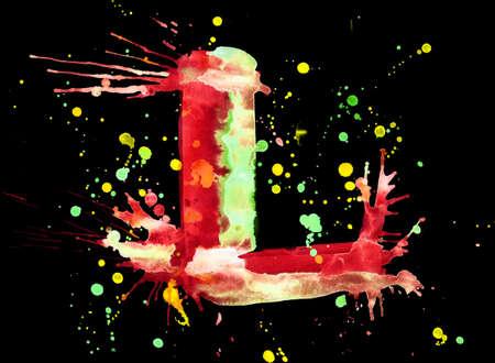 Neon watercolor paint - letter L photo