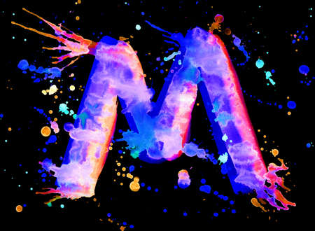 Neon watercolor paint - letter M photo