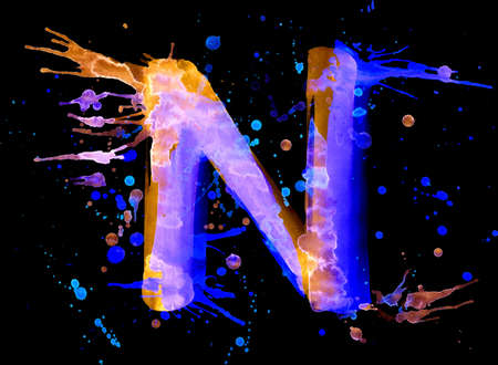 Neon watercolor paint - letter N photo