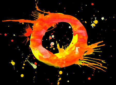 Neon watercolor paint - letter O photo