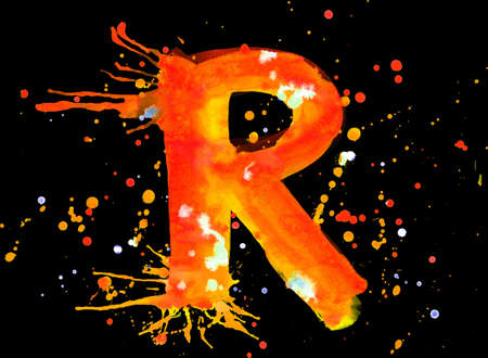 Neon watercolor paint - letter R photo