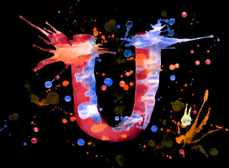 Neon watercolor paint - letter U photo