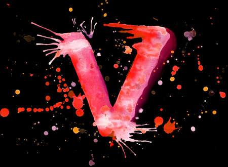 Neon watercolor paint - letter V photo