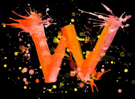 Neon watercolor paint - letter W photo
