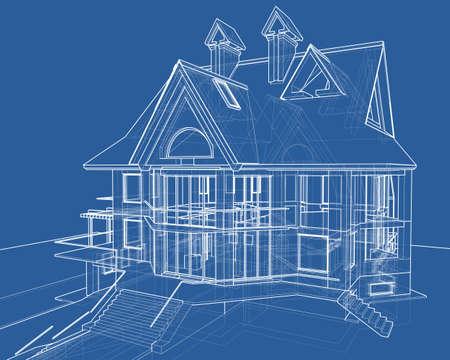 blueprint house: house blueprint: 3d technical draw