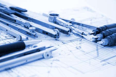 architecture blueprint & tools photo