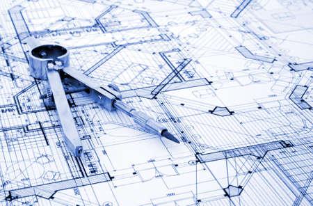 architecture blueprint & tools Stock Photo - 3750074