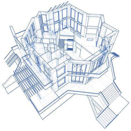 3d blueprint house: vector technical draw Stock Photo - 3750088