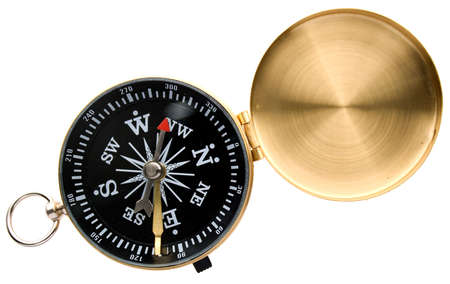 Metal compass isolated on white photo