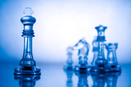 Blue transparent chess Stock Photo