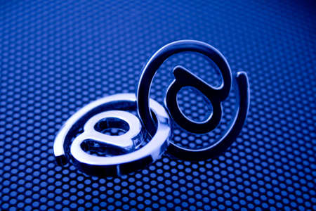 e-mail symbols & blue technology background photo
