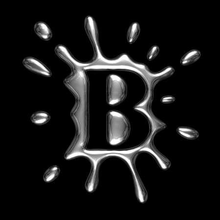 liquid metal: Metallo liquido lettera B - alfabeto simbolo isolato su uno sfondo nero (con clipping path)